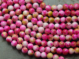 8mm Magenta & Green Apple Natural White Jade Polished Gemstone Beads, Half Strand (N2-INDOC484)