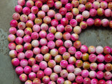 Magenta & Green Apple Natural White Jade 8mm Round Beads
