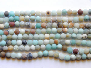 Amazonite Multicolor Frosted 8mm Round Beads
