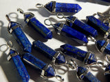 Lapis Lazuli Gemstone Pendant - 35-45mm Bullet Crystal Point Pendant with Silver Color Brass Bail - 1 PC (INDOC67)