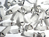 Quartz Crystal Gemstone Pendant - 35-45mm Bullet Crystal Point Pendant with Silver Color Brass Bail - 1 PC (INDOC67)