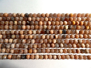 8mm Natural Sunstone Polished Round Semi-Precious Beads, Full Strand or Half Strand (IND1C83)