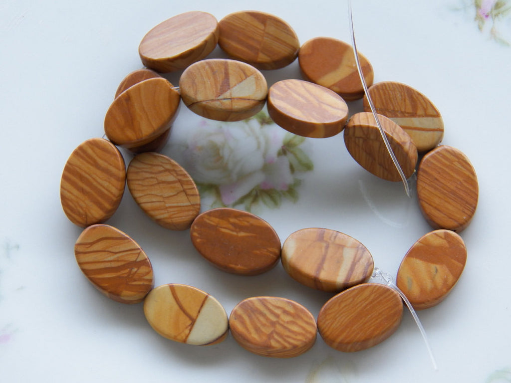 Wood Lace Stone Oval Beads Approximately 20X13-14X6mm