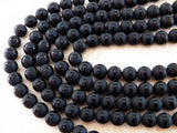 10mm Black Onyx Frosted Striped Round Gemstone Beads, Half Strand (IND1C38)