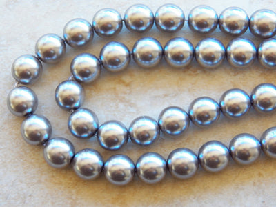 Preciosa Czech Glass Pearl 12mm Round Beads Silver