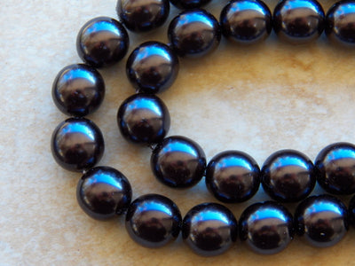 Preciosa Czech Glass Pearl 12mm Round Beads Black