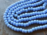 9mm Opaque Angelite Blue Glass Crow Beads, 16 Inch Full Strand (INDOC53)