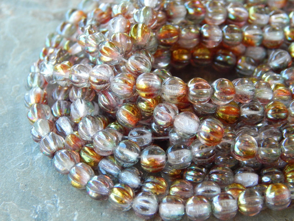 Czech Pressed Fluted Melon Glass 5mm Beads Luster Pink Crystal