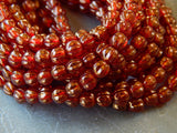 Czech Pressed Fluted Melon Glass 5mm Beads Sunset Maple