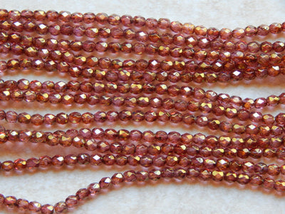 Preciosa Czech Fire Polished Glass Faceted Round Beads 4mm Luster Rose Gold Topaz