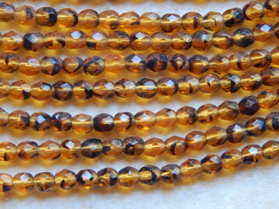 Preciosa Czech Fire Polished Glass Faceted Round Beads 4mm Tortoise
