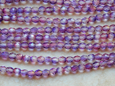 Preciosa Czech Fire Polished Glass Faceted Round Beads 4mm Dual Coated- Tanzanite Fuchsia