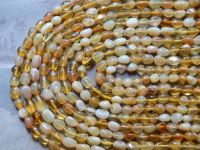 Yellow Opal Pebble Nugget Beads 5-7X5-8mm