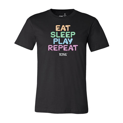 Tetris Neon Collection Eat Sleep Play Repeat Men's Shirt