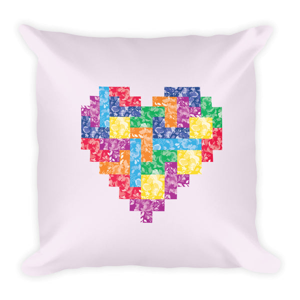 Tetris Floral Collection Tetrimino Heart Pillow