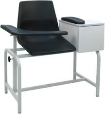 Phlebotomy Chair, W.Cabinet, Black, Max Capacity 225 lbs, BDC-1BS