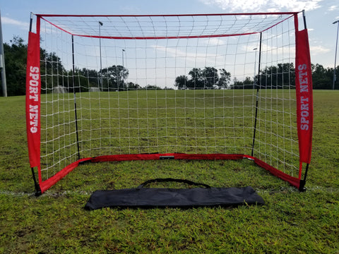 Portable Bow Frame Soccer Net With Carry Bag - 4 Sizes 4' X 6' - 4' X 8' - 6' X 12' - 7' x 14'