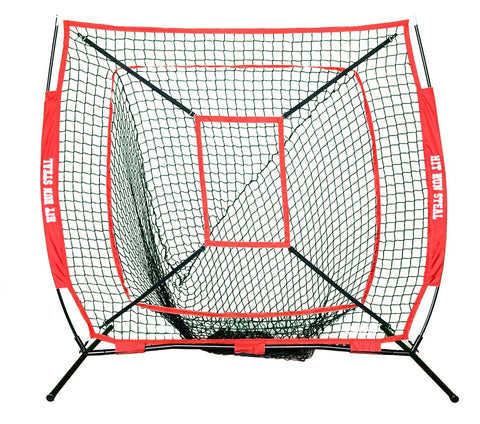 Portable Baseball and Softball Hitting Net - 5 x 5 Large Mouth Net and Strike Zone Attachment