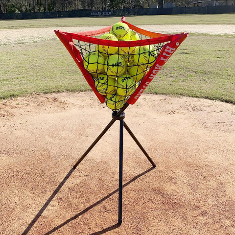 Portable Baseball and Softball Hitting Net - 5 x 5 Large Mouth Net, Strike Zone Attachment, Portable Tee and Ball Caddy