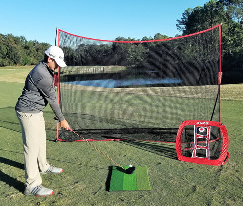 Heavy Duty 10x7 Golf Hitting Net - Perfect Golf Practice Net. Use Indoor, Outdoor, Garage, Backyard, Or In Any Open Field