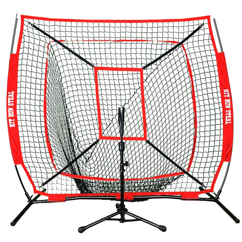Portable Baseball and Softball Hitting Net - 5 x 5 Large Mouth Net With Strike Zone And Portable Batting Tee