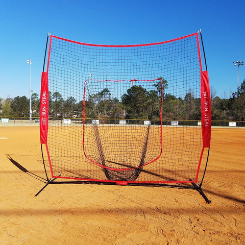 Sport Nets Baseball / Softball Hitting Net - 7 x 7 Practice Large Mouth Net with Bow Frame LIFETIME WARRANTY