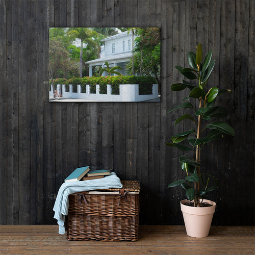 Close up of Key West House painting, tropical wall print for your home