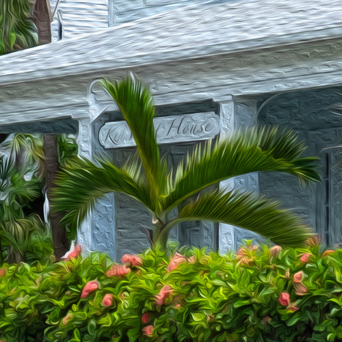 Close up of Key West House painting, floral front yard palm tree