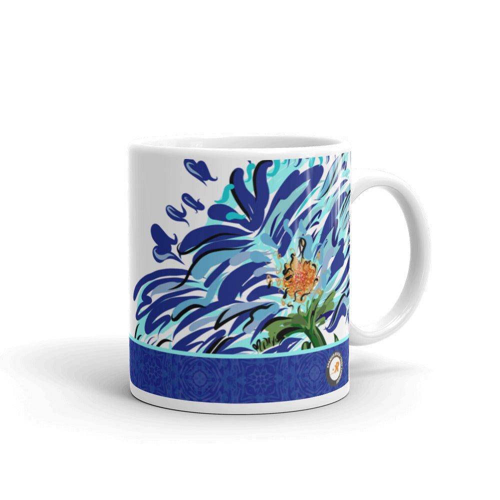 Blue Floral Illustration Mug - Hand Drawn Abstract WaterFlower Design