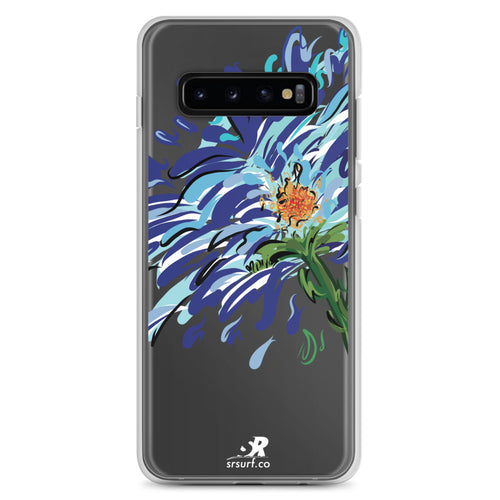 Blue Floral Illustration Samsung Case - Hand Drawn Abstract WaterFlower Design