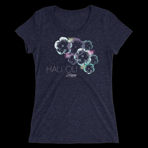 Hawaiian Hibiscus Floral Design - Ladies' floral hibiscus print short sleeve t-shirt