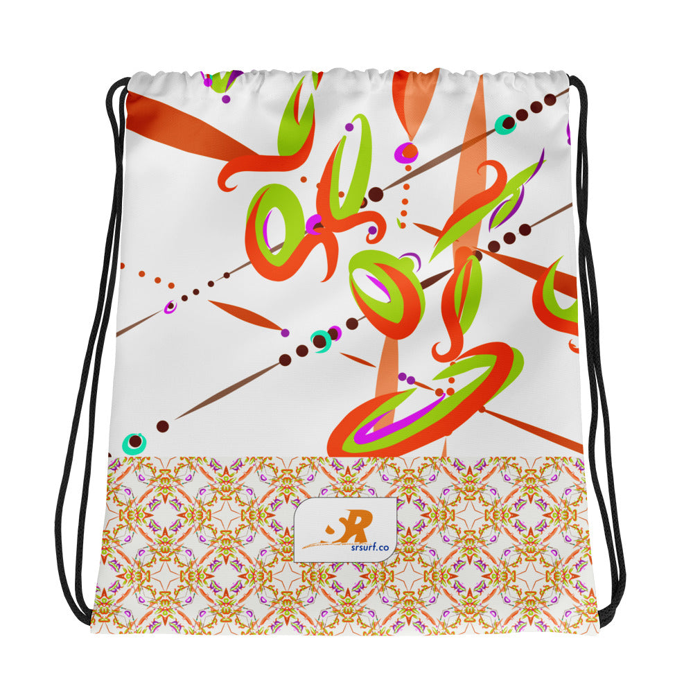 Fiesta Beach Party Drawstring bag - Contemporary Vibrant & Vintage Pattern