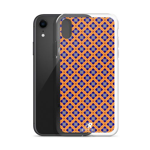 Orange Diamond Jeweled Glass Pattern iPhone Case