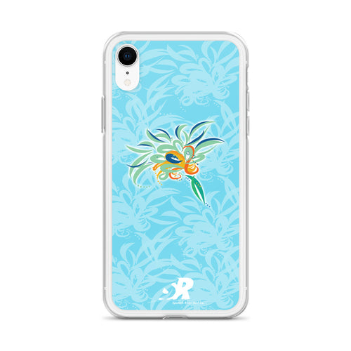 Sky-Blue Floral Art EarthFlower Design iPhone Case