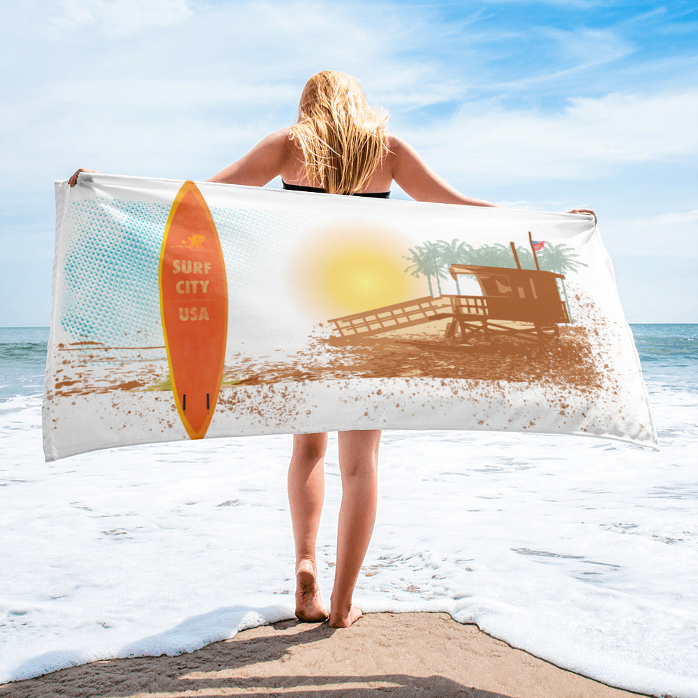 Surf City, USA - Surfboard with Sunset Beach -Spanish River Surf Co. Beach Towel