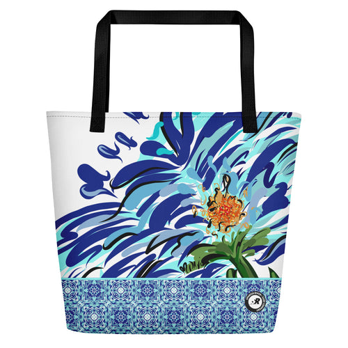 WaterFlower Design Beach Bag - Blue Floral Illustration