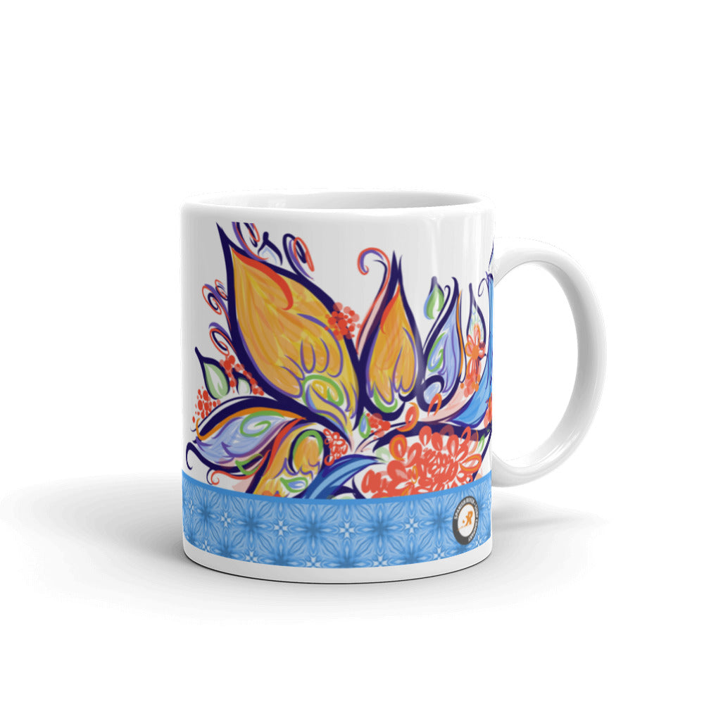 Multi-colored Floral Illustration Coffee Mug - Hand Drawn Abstract ParadiseFlower Design