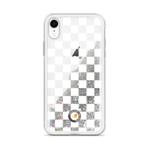 White Checkerboard Liquid Glitter Phone Case
