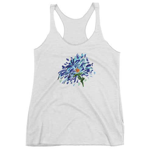 Blue Floral Illustration Women's Racerback Tank Top - Hand Drawn Abstract WaterFlower Design