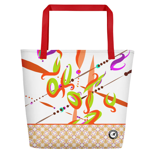 Fiesta Beach Party Beach Bag -Contemporary Vibrant & Vintage Pattern