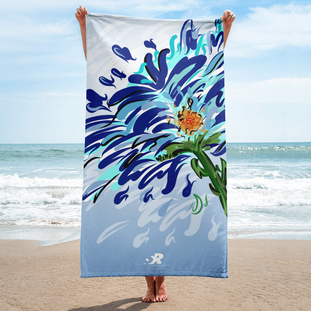 Blue Floral Illustration Towel - Hand Drawn Abstract WaterFlower Design