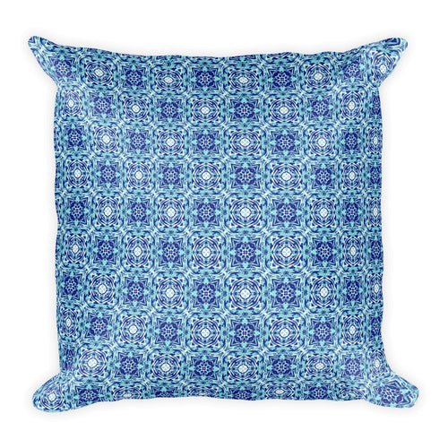 Blue Floral Illustration Square Pillow - Hand Drawn Abstract WaterFlower Design