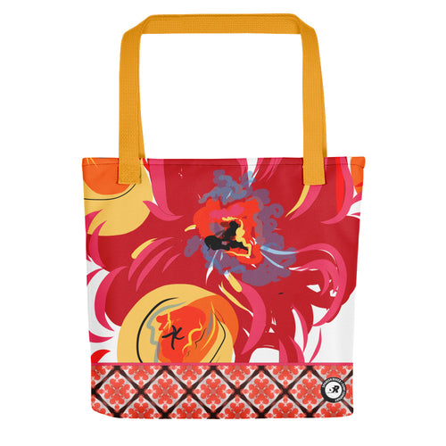 FireFlower Design Illustration Tote Bag - Warm Red Floral Pattern