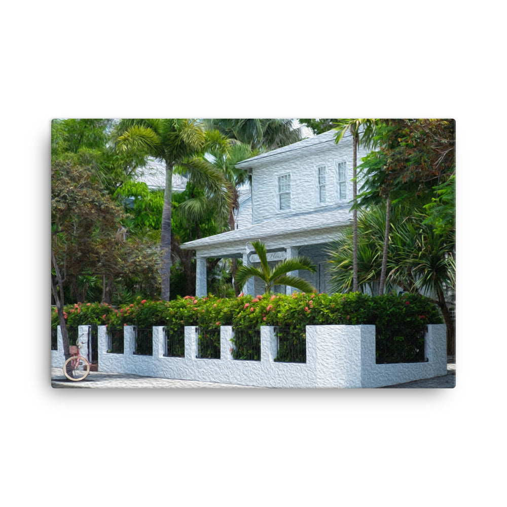 Key West house painting with beautiful tropical scene