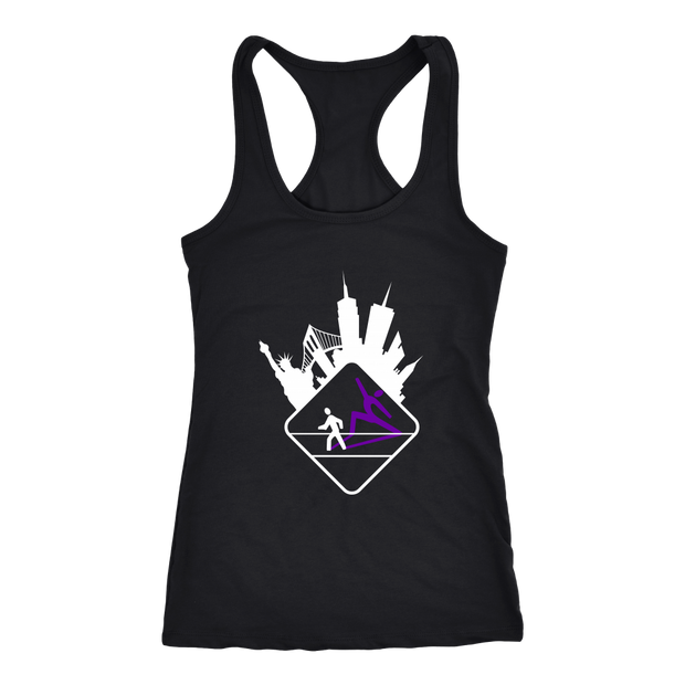 Pedestrian Wanderlust Next Level Black Racerback Tank