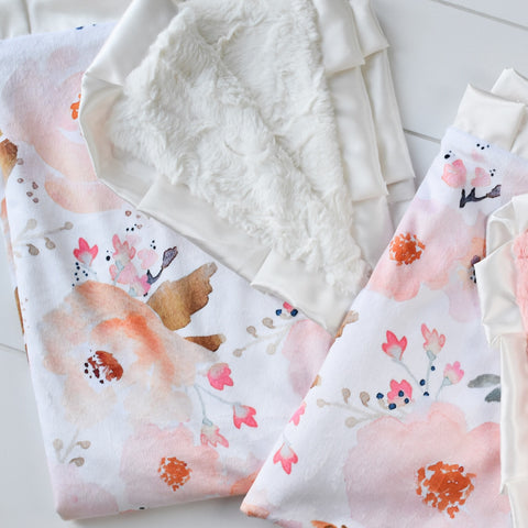 Peach Floral Mini Minky - RTS