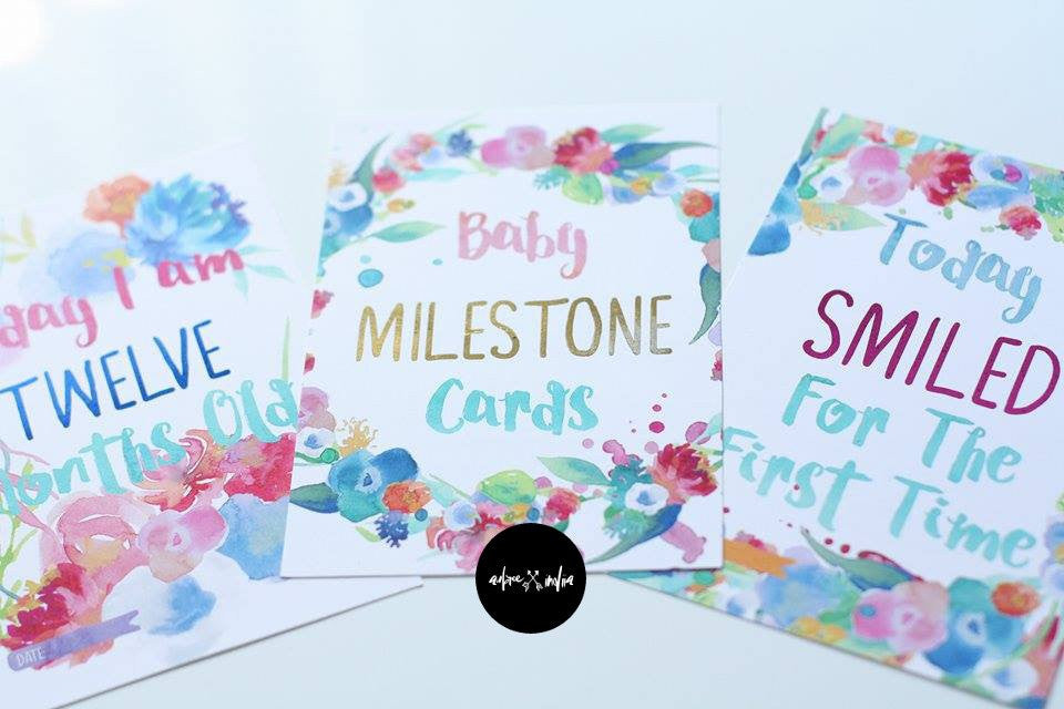 Watercolour Floral Baby Milestone Cards