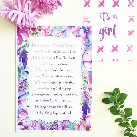 'I Love You' Floral Watercolour Foil Print