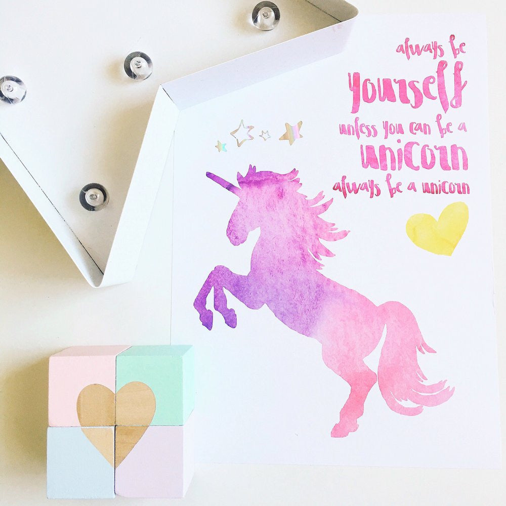 Unicorn Watercolour Foil Print