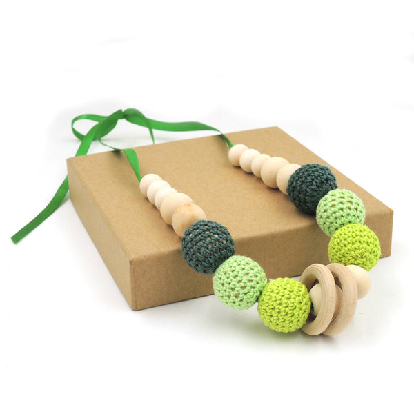 Stylish Wooden Teething Necklace with Crochet Beads - Lemon/Green (0 - 1 y/o ; 1 - 2 y/o)